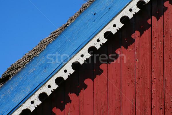 Haus Detail Ornament blau rot weiß Stock foto © Ximinez