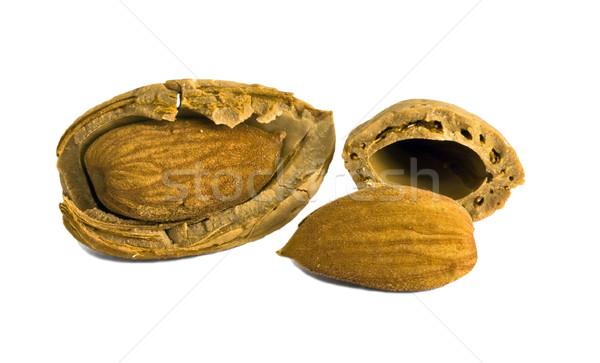 Almonds on white background Stock photo © Ximinez