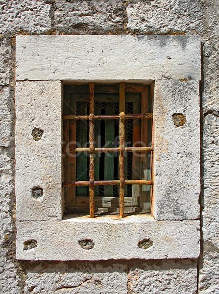 Fenster Eisen Bars alten rostigen Stein Stock foto © Ximinez