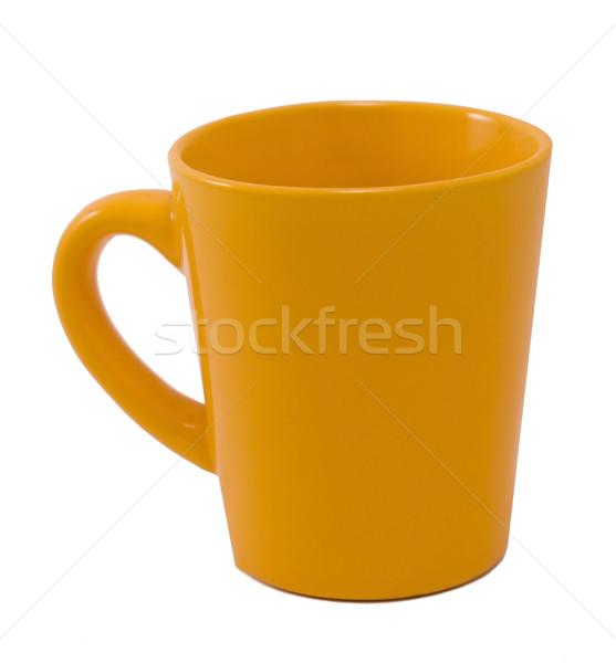 Gelb mug einfache weiß Kaffee Hintergrund Stock foto © Ximinez