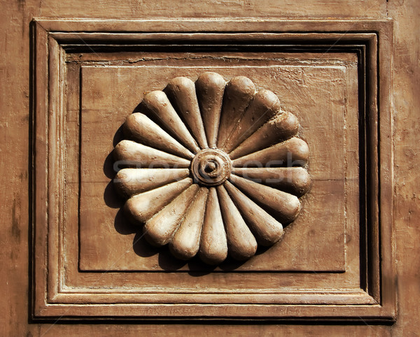 Ornamental inset of an old wooden door Stock photo © Ximinez