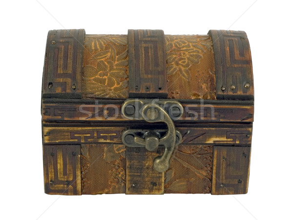 Antiken Holz Brust isoliert weiß Holz Stock foto © Ximinez