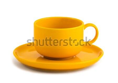 Gelb Tasse Untertasse einfache Kaffeetasse weiß Stock foto © Ximinez