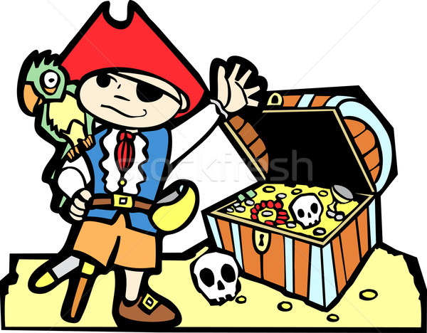 Pirate with Treasure Chest Stock photo © xochicalco