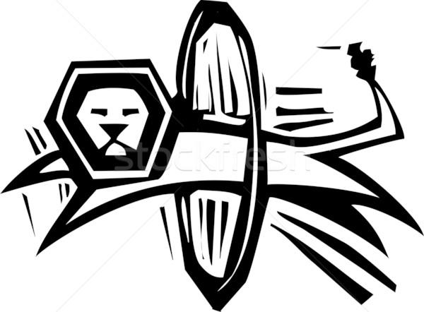 цирка лев Перейти стиль изображение прыжки Сток-фото © xochicalco