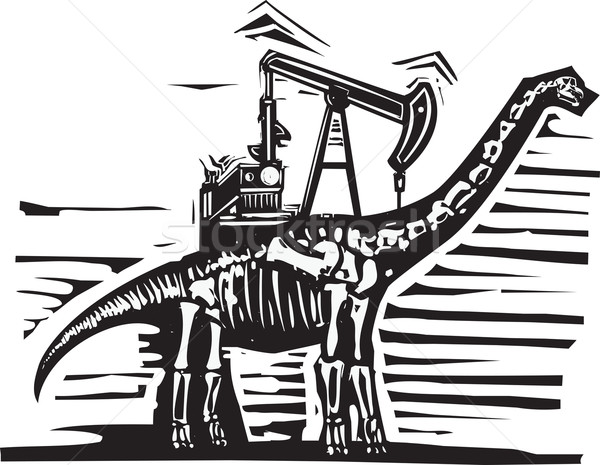 Oliebron pompen stijl afbeelding fossiel dinosaurus Stockfoto © xochicalco