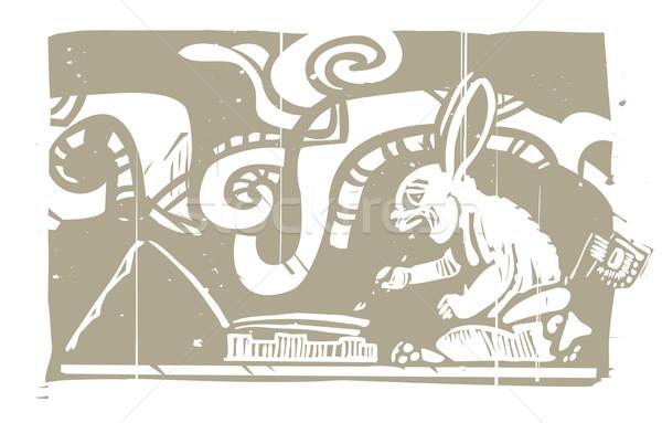 Stock photo: Mayan Rabbit Scribe Woodblock