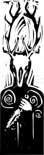 кельтской языческий Бога оленей голову поклонения Сток-фото © xochicalco