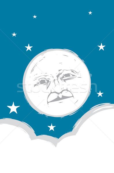 Lua cheia cara branco nuvens noite céu Foto stock © xochicalco