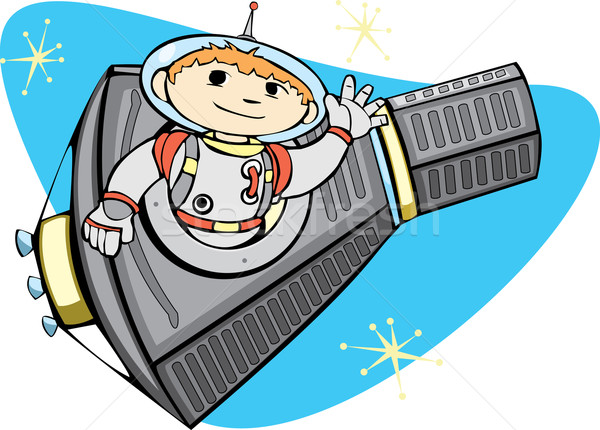 Mercury Capsule and Space Boy Stock photo © xochicalco