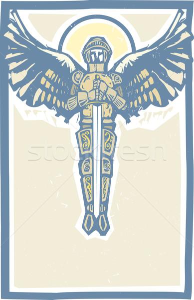 Kleur pantser zwaard stijl afbeelding engel Stockfoto © xochicalco