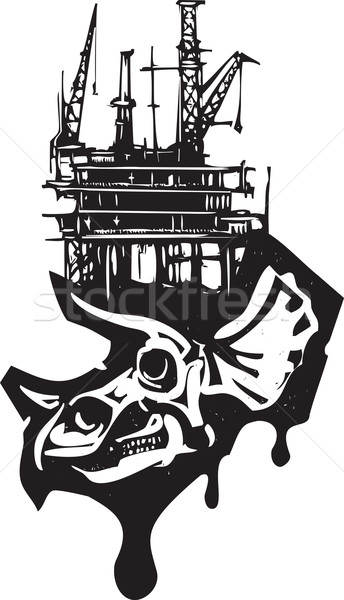 Triceratops Skull Fossil Fuel Stock photo © xochicalco