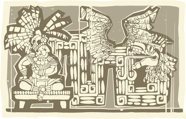 Stock photo: Woodblock Mayan King B