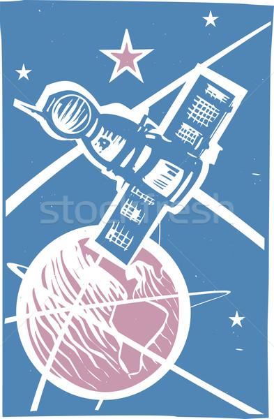 Erde Farbe sowjetischen Plakat Stil Bild Stock foto © xochicalco