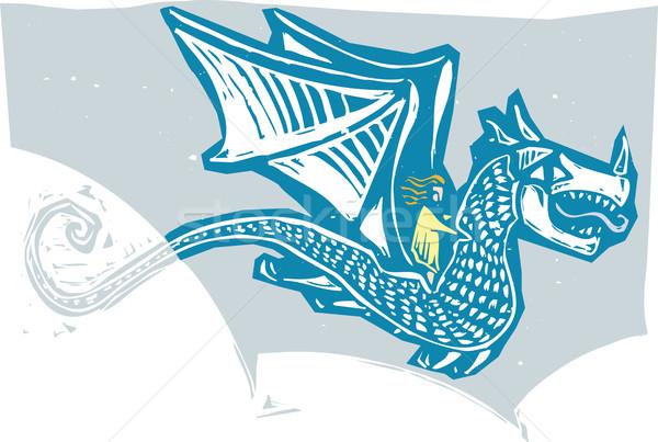 Сток-фото: дракон · женщину · верховая · езда · назад · стиль · изображение