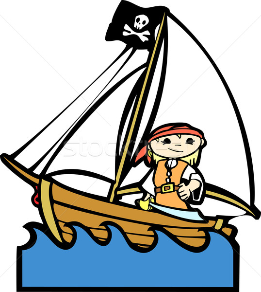 Pirate Boat with Girl Stock photo © xochicalco