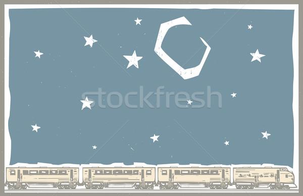 Foto stock: Céu · noturno · trem · estilo · imagem · cartaz · diesel