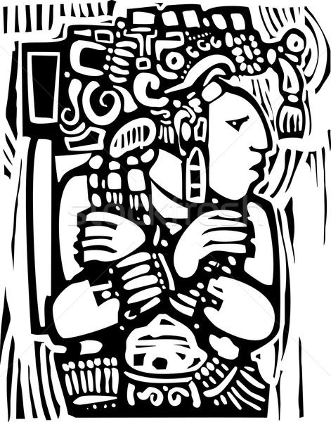 Mayan Woodcut Style 3 Stock photo © xochicalco