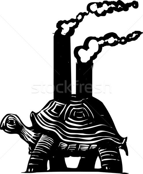Tartaruga estilo imagem poluição bem vetor Foto stock © xochicalco
