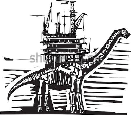 Olajkút fúró stílus kép kövület dinoszaurusz Stock fotó © xochicalco