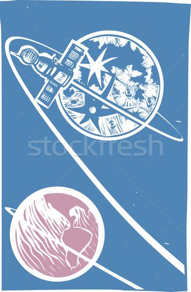 Soyuz Orbiting the Moon Stock photo © xochicalco