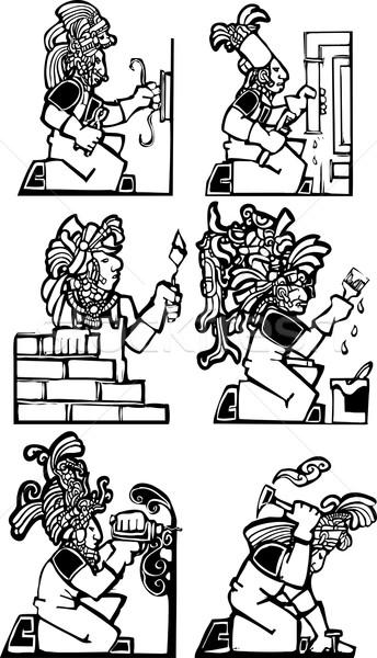 Mayan Workman Construction Set Stock photo © xochicalco