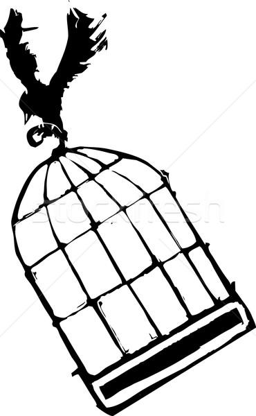 Bird Carrying Birdcage Stock photo © xochicalco