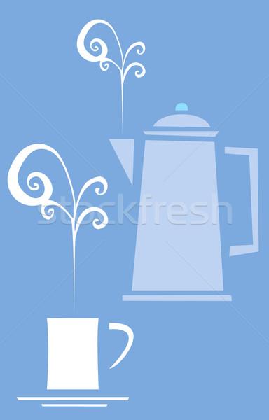 Kawy negatywne obraz filiżankę kawy puli siedemdziesiątych Zdjęcia stock © xochicalco