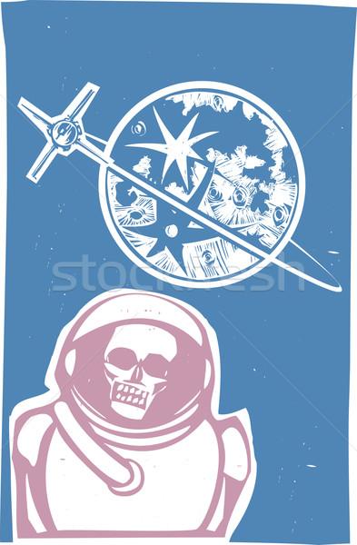 Dode kosmonaut sovjet- poster stijl afbeelding Stockfoto © xochicalco
