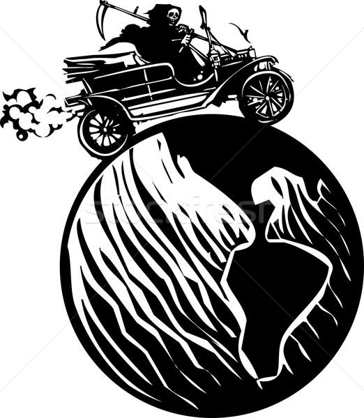 Dood rijden rond wereld stijl expressionistische Stockfoto © xochicalco