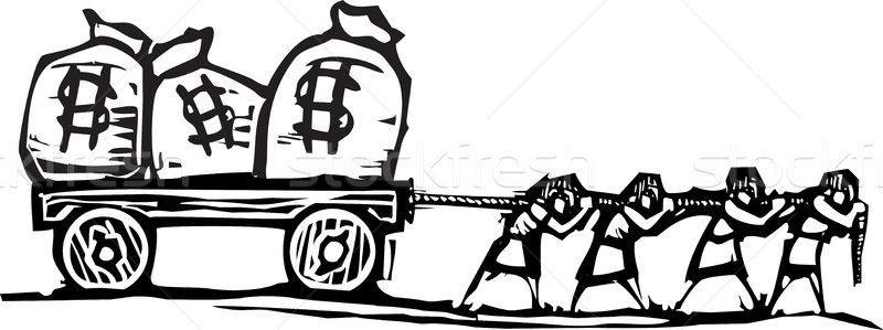 Geld stijl expressionistische afbeelding mensen zakken Stockfoto © xochicalco