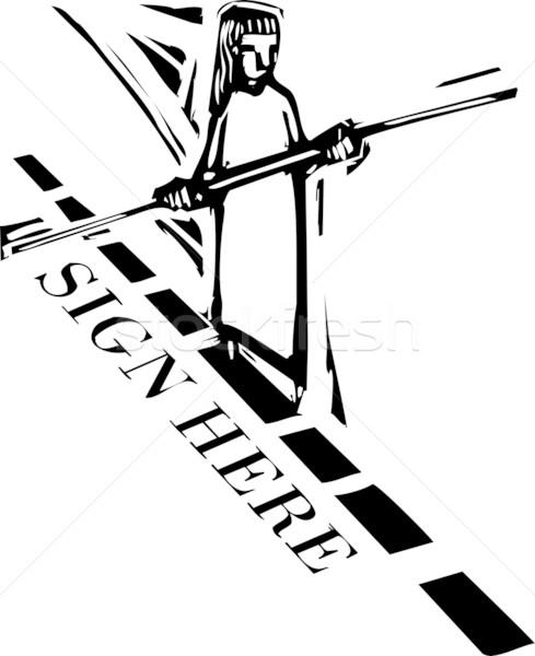 знак здесь человек ходьбе туго натянутый канат пунктирный Сток-фото © xochicalco