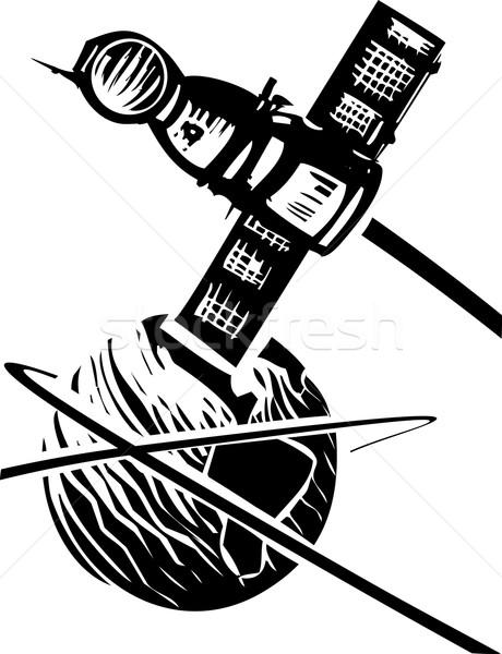 Erde schwarz weiß sowjetischen Plakat Stil Bild Stock foto © xochicalco