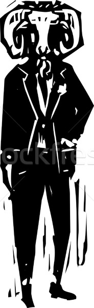 Widder Kopf Mann Stil Business Bild Stock foto © xochicalco