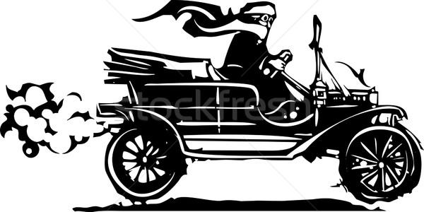Vrouw rijden oldtimer stijl expressionistische afbeelding Stockfoto © xochicalco