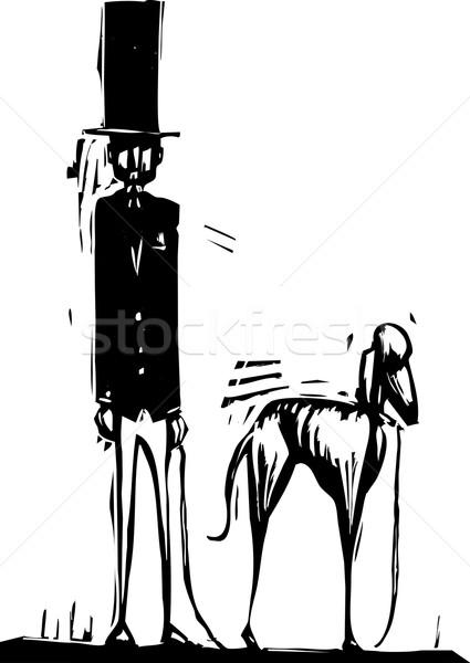 Alto hombre perro superior sombrero galgo Foto stock © xochicalco