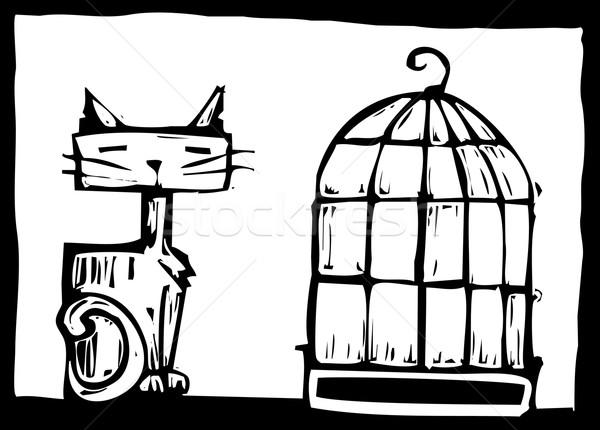 Cat and Birdcage Stock photo © xochicalco