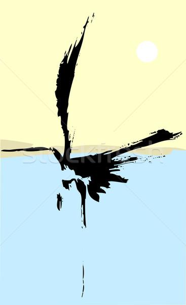 цапля стиль моде подобно Японский экране Сток-фото © xochicalco
