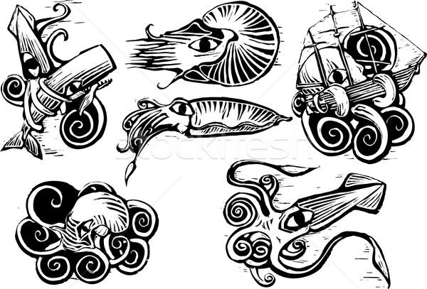 Octopus inktvis groep aquatisch dieren retro Stockfoto © xochicalco