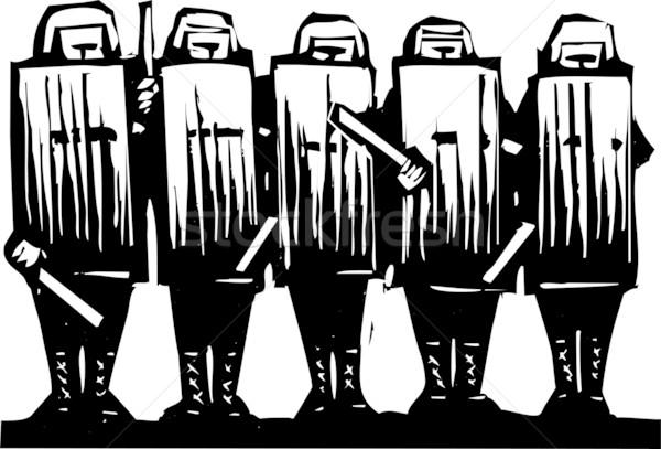 Antidisturbios policía línea dinero calle protesta Foto stock © xochicalco