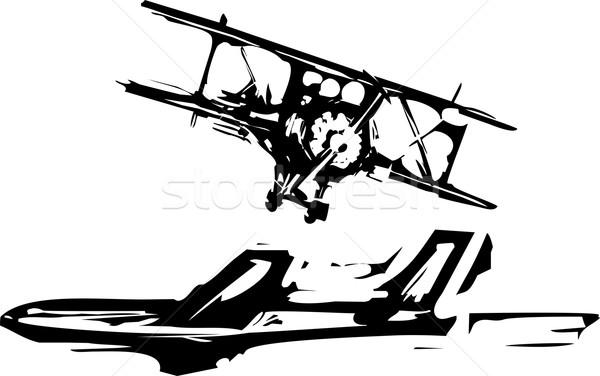 Woodcut Airplanes Stock photo © xochicalco