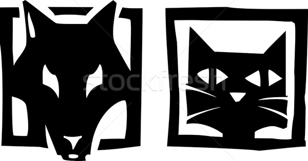 Chien chat style image icônes et Photo stock © xochicalco