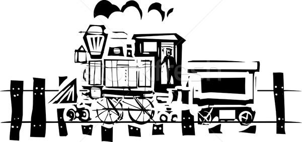 Simples locomotiva expressionista estilo imagem ferrovia Foto stock © xochicalco