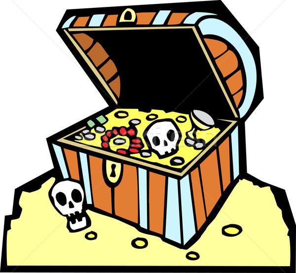 Stock fotó: Kincsesláda · kalóz · arany · érmék · koponyák · fiú · jelmez