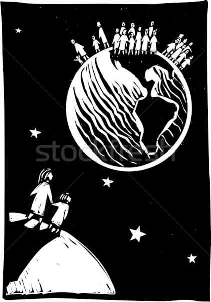 Affollato mondo due persone guardando indietro cielo Foto d'archivio © xochicalco