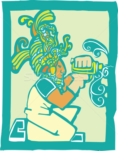 Mayan Workman with Drill Stock photo © xochicalco