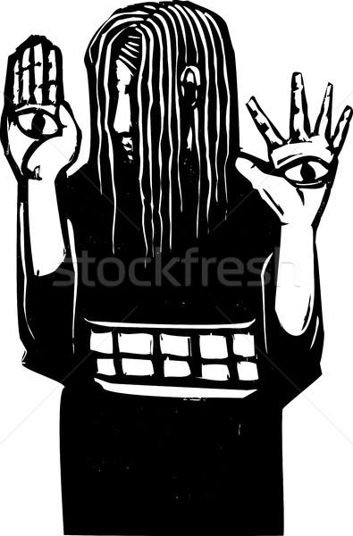 рук экспрессионист стиль слепых девушки глазах Сток-фото © xochicalco