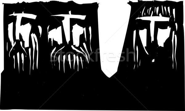 Drie donkere expressionistische afbeelding twee mannen vrouw Stockfoto © xochicalco