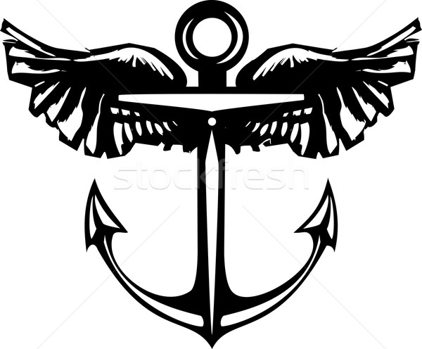Winged Anchor Stock photo © xochicalco