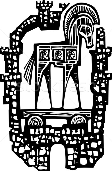 Trojan Horse in Walls Stock photo © xochicalco